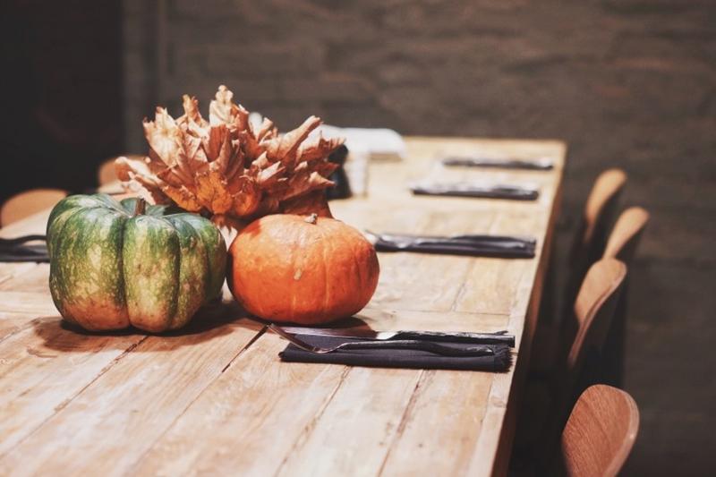 Decorative pumpkins make great centerpieces.